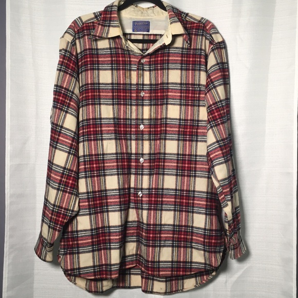 Pendleton Lodge Shirt VTG Plaid Wool Button Down